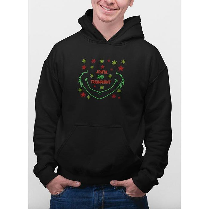 black christmas hoodie with green and red snow flakes and text joyful & triumphant