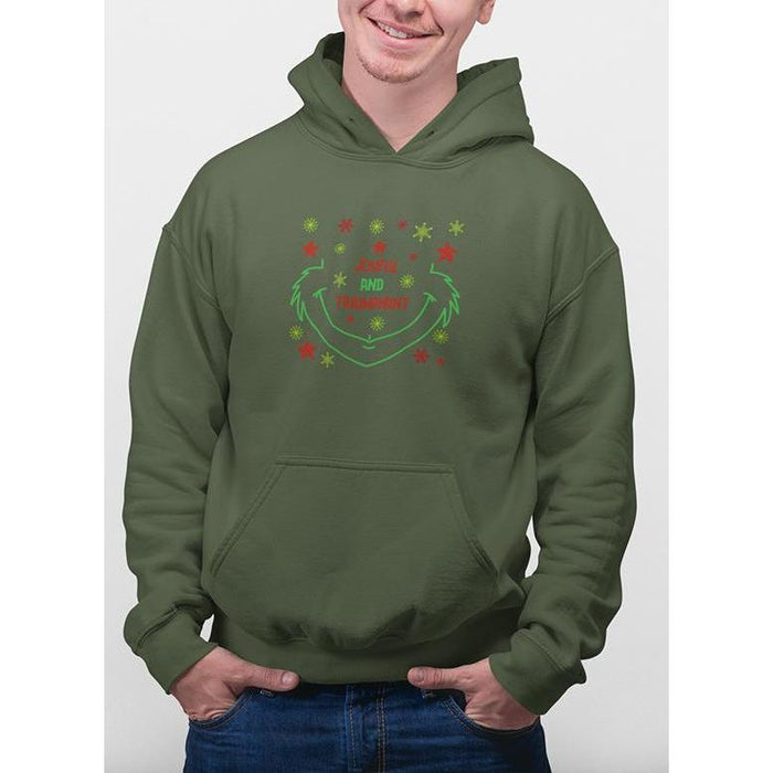 military green christmas hoodie with green and red snow flakes and text joyful & triumphant