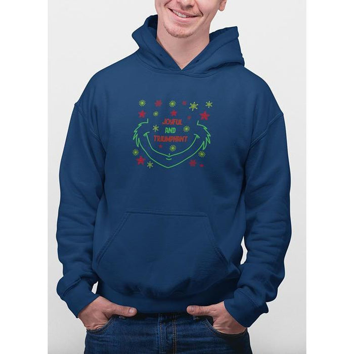 navy blue christmas hoodie with green and red snow flakes and text joyful & triumphant