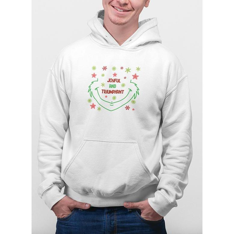 White christmas hoodie with green and red snow flakes and text joyful & triumphant