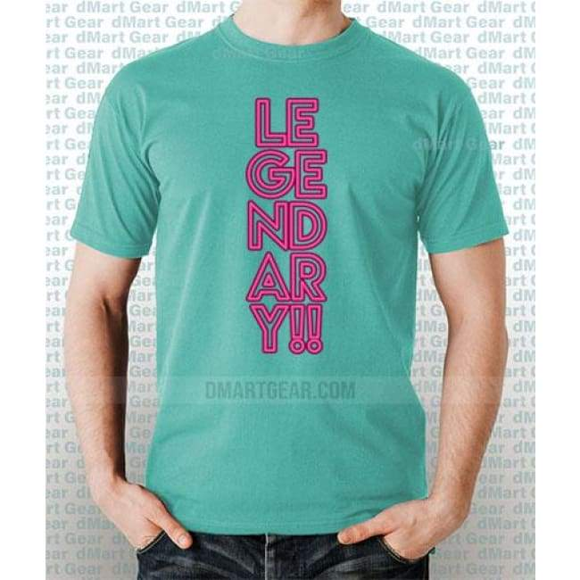 Mint 100% pre-shrunk cotton t-shirt with pink text that says Legendary