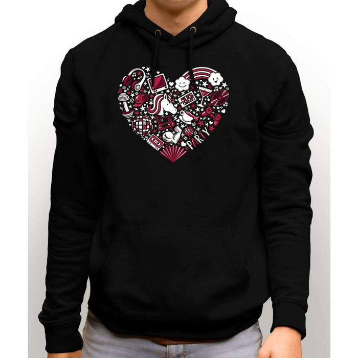 Black sweatshirt with hood and front pocket with image of a red heart