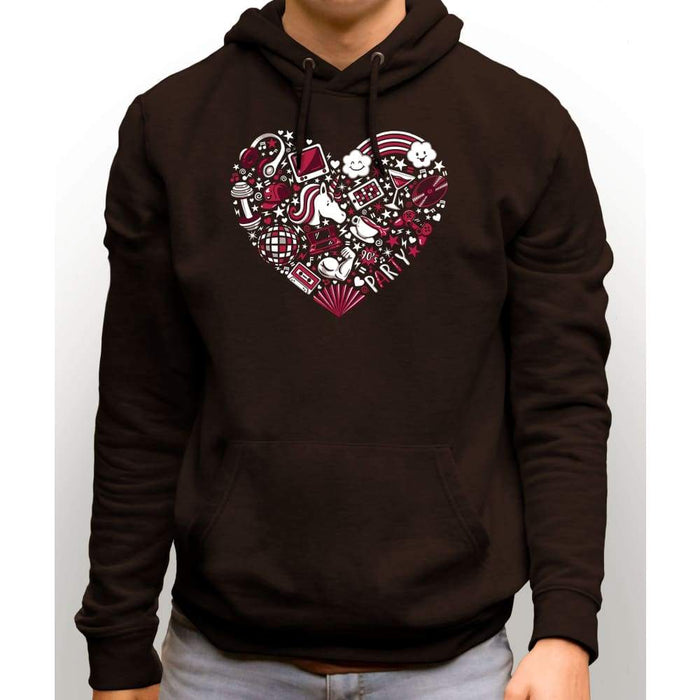 Brown sweatshirt with hood and front pocket with image of a red heart