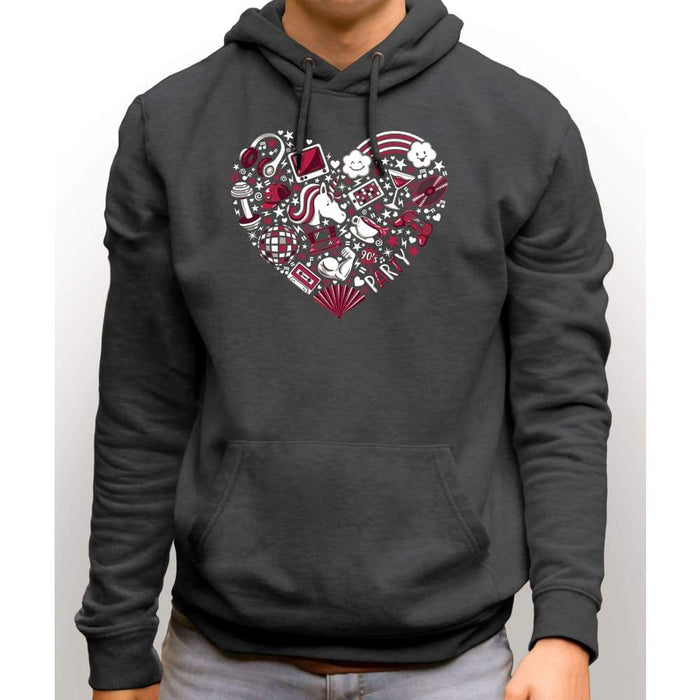 Charcoal sweatshirt with hood and front pocket with image of a red heart