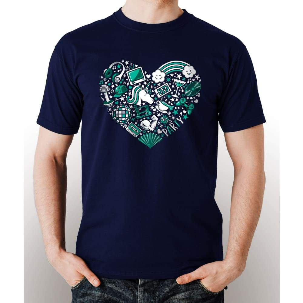 Navy Blue 100% pre-shrunk cotton t-shirt with image of a teal heart