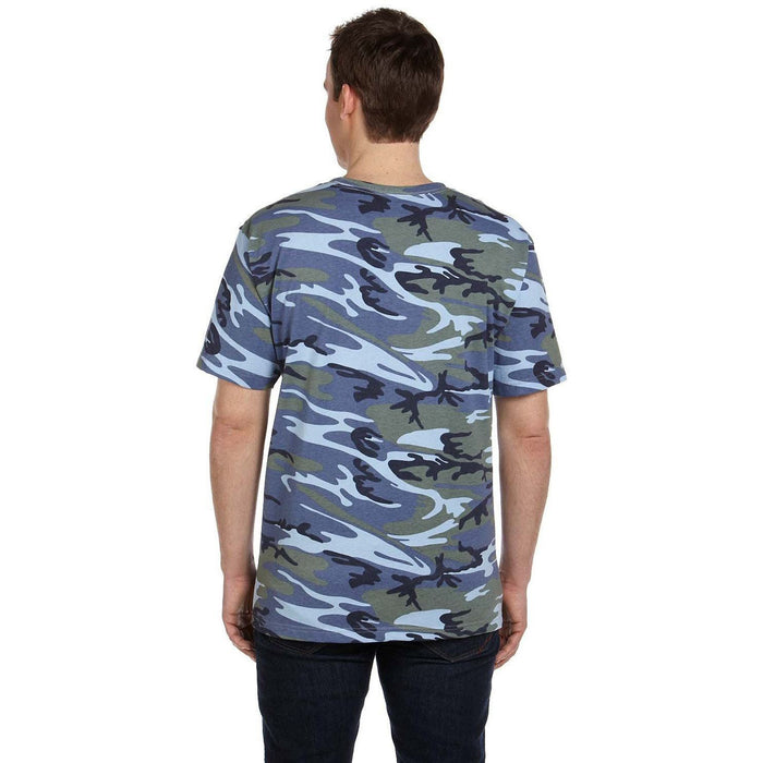 Back image of guy wearing a blue camo t-shirt