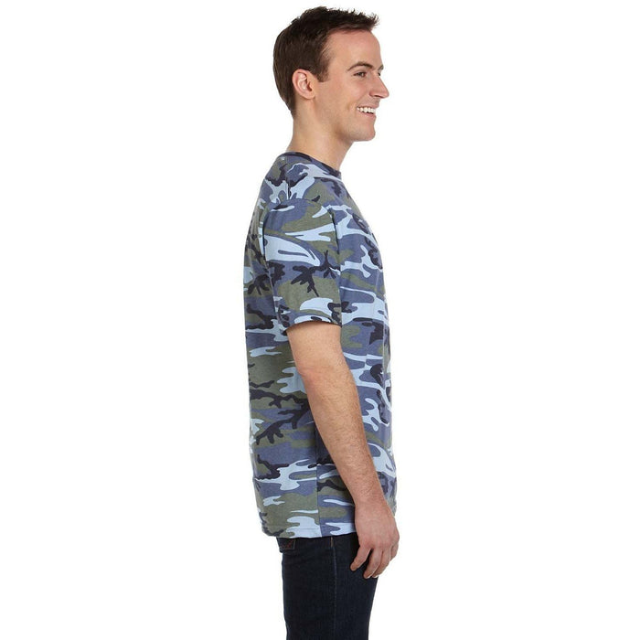 Side image of guy wearing Blue Camo t-shirt