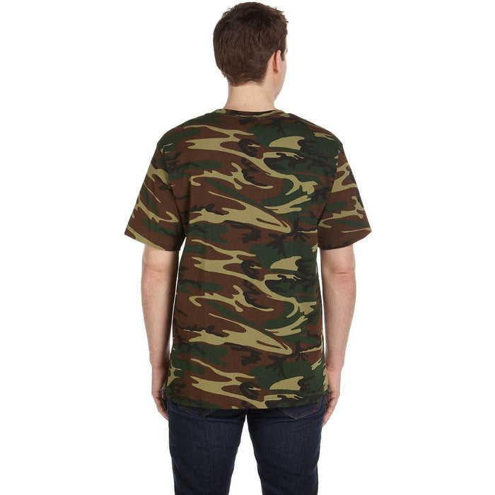 Back image of guy wearing a Green and Brown camo t-shirt