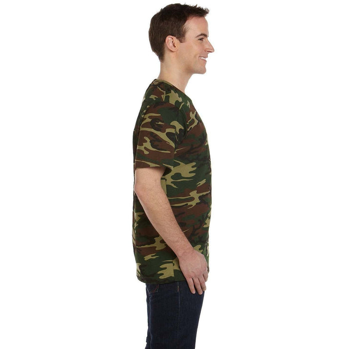Side image of guy wearing Brown and Green Camo t-shirt
