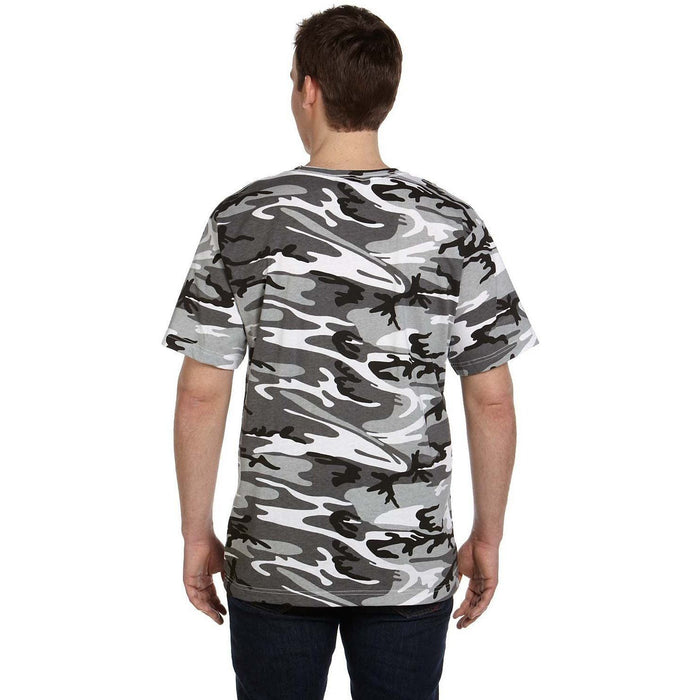 Back image of guy wearing a Black and Grey camo t-shirt