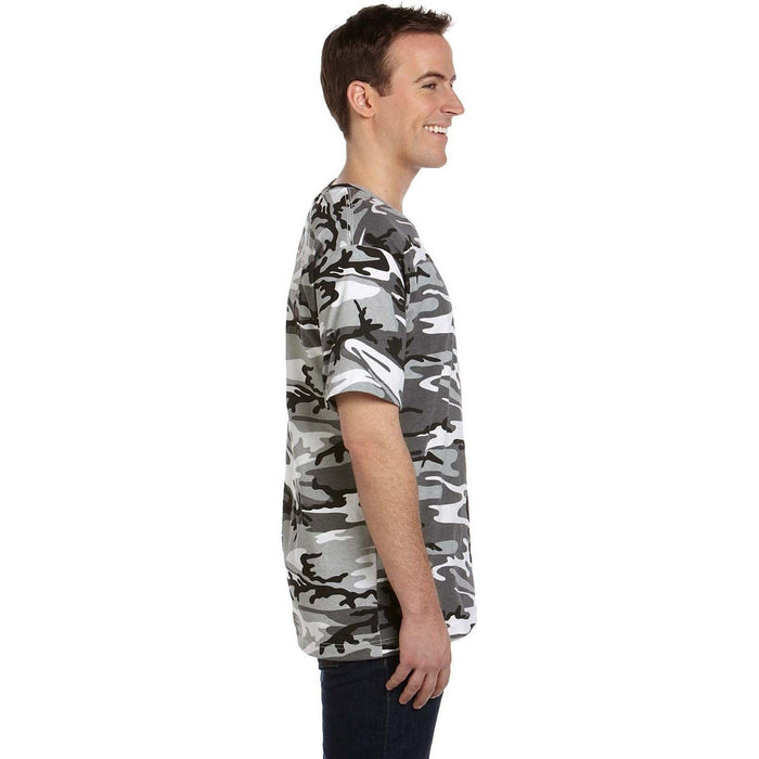 Side image of guy wearing Black and Gray Camo t-shirt
