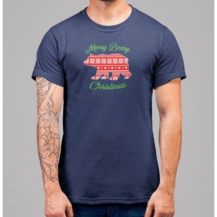 navy blue t-shirt with greem text merry beary christmas and image of bear