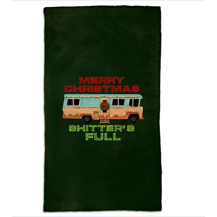 Green hand towel with images of camper and wording Merry Christmas Shitters Full