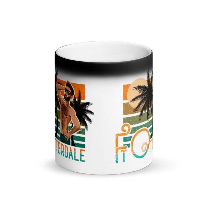 Black magic changing mug when warm reveals gay otter and blue and orange text Ft Otterdale