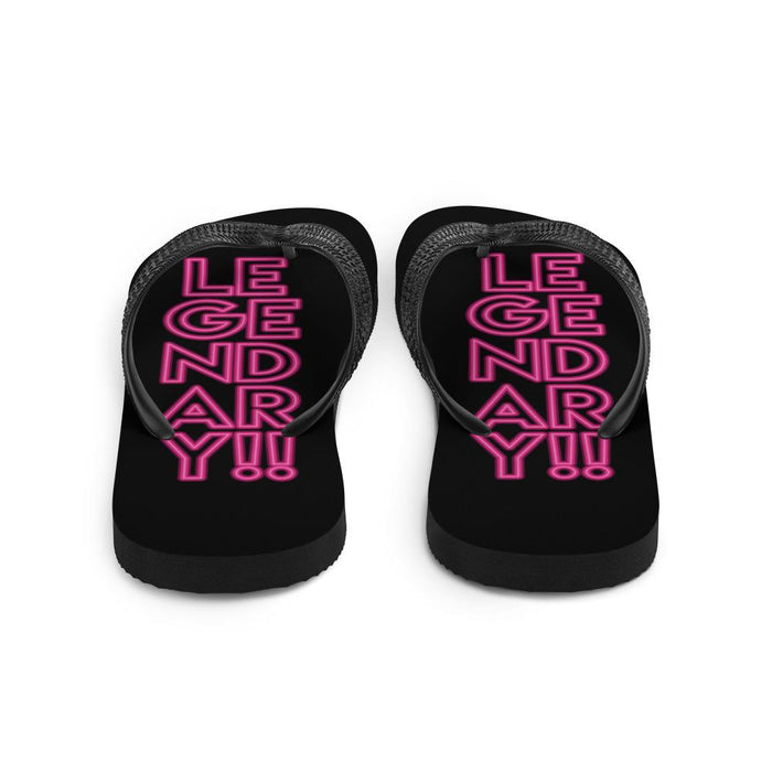 back view of black flip flops with pink text legendary