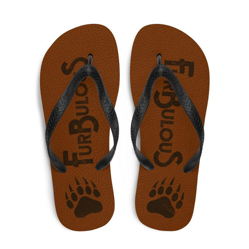 top view of brown flip flops with brown text furbulous and image of bear paw