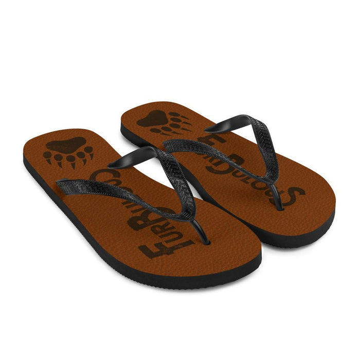 angel  view of brown flip flops with brown text furbulous and image of bear paw