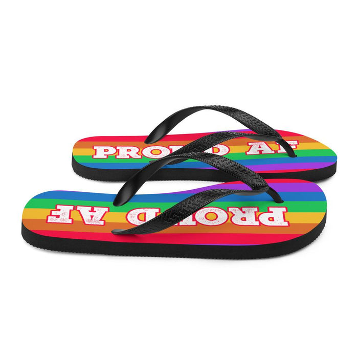side view of rainbow colors flip flops woth white text proud af