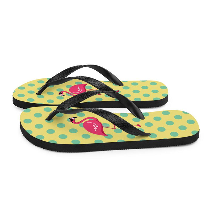 side view of yellow flips flows with green dots and image of flamingo