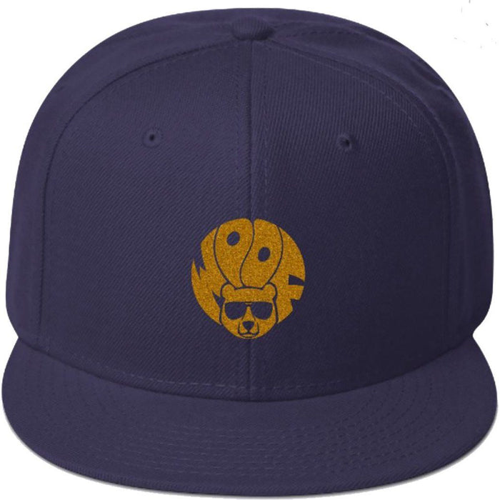 Navy 5-panel, structured, high-profile hat with gold glitter image of bear and text woof