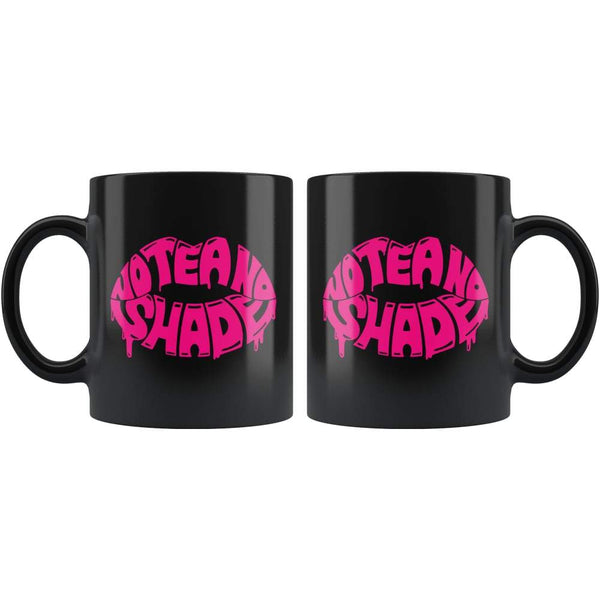 Black high gloss 11oz ceramic coffee mug Dishwasher and Microwave Safe with image of pink lips