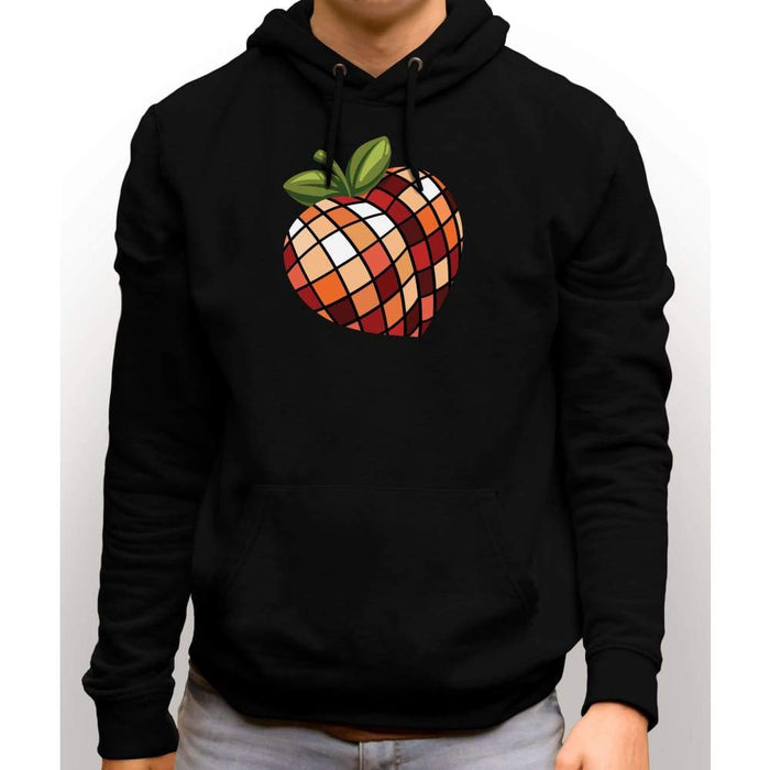 Black sweatshirt with hood and front pocket with image of disco peach