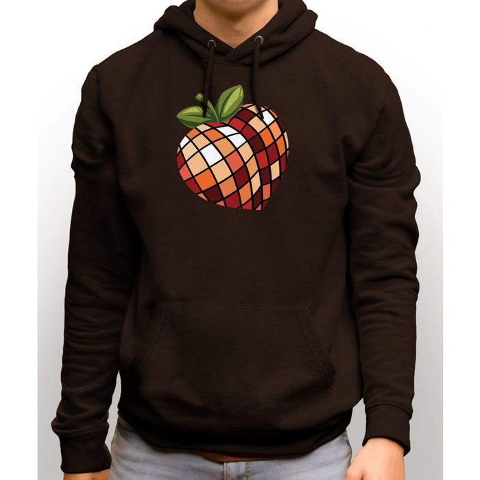 Brown sweatshirt with hood and front pocket with image of disco peach