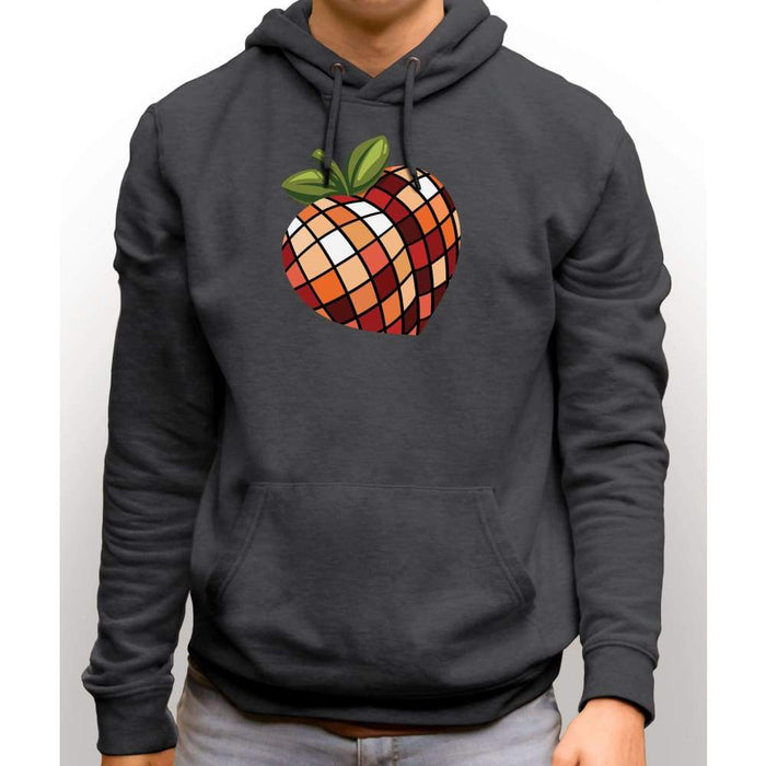 Charcoal sweatshirt with hood and front pocket with image of disco peach