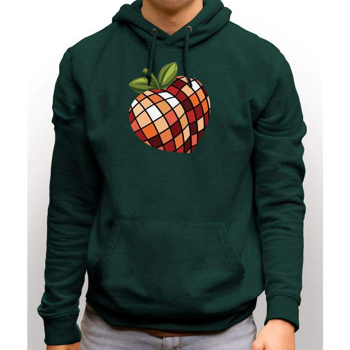 Forest Green sweatshirt with hood and front pocket with image of disco peach