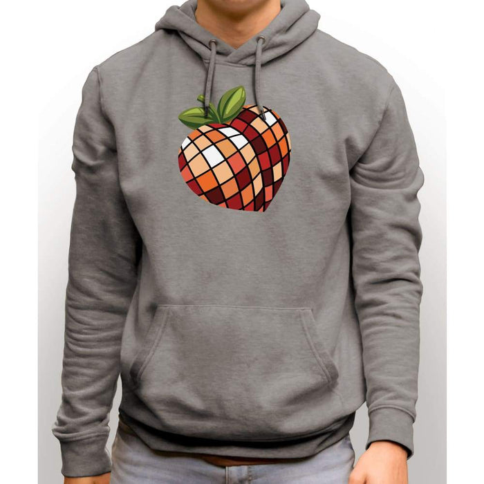 Light Steel sweatshirt with hood and front pocket with image of disco peach