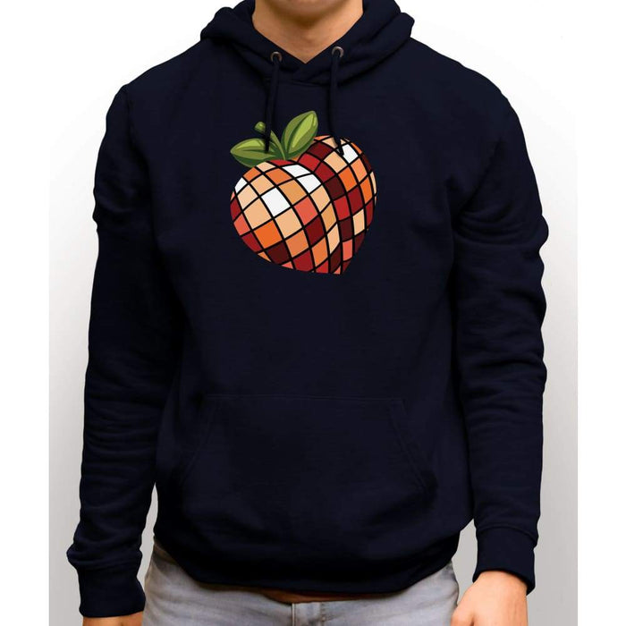 Navy Blue sweatshirt with hood and front pocket with image of disco peach