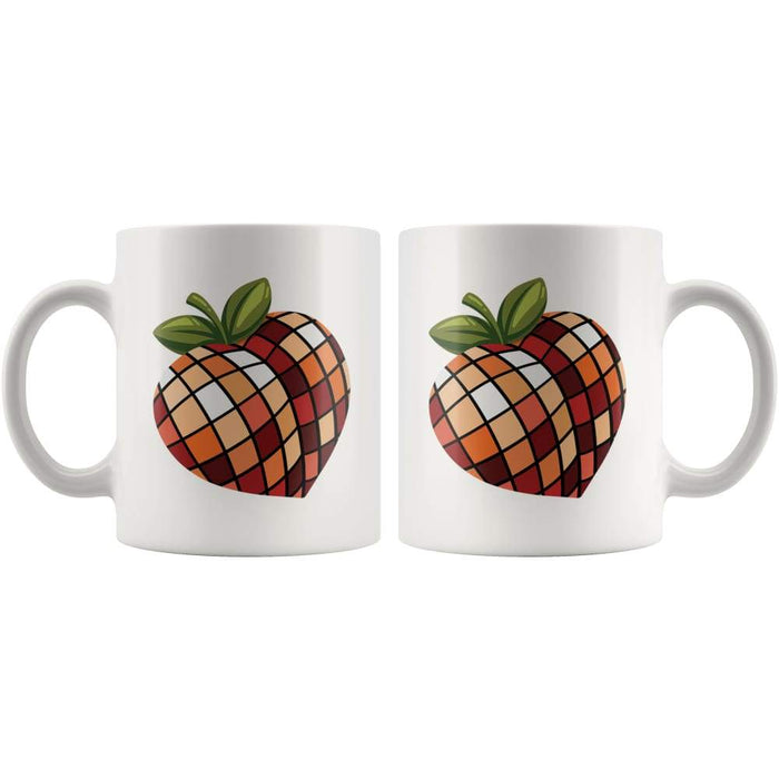 White high gloss 11oz ceramic coffee mug Dishwasher and Microwave Safe with image of a peach