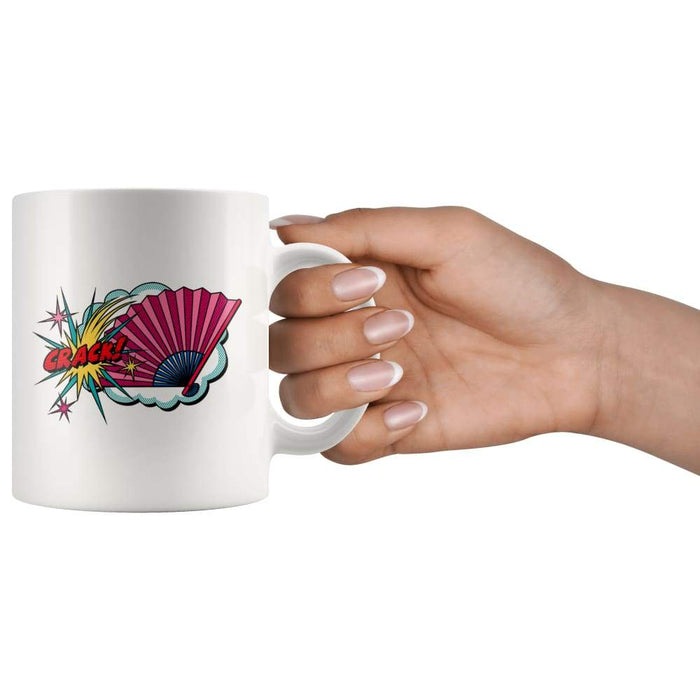 White high gloss 11oz ceramic coffee mug Dishwasher and Microwave Safe with image of a bright fan