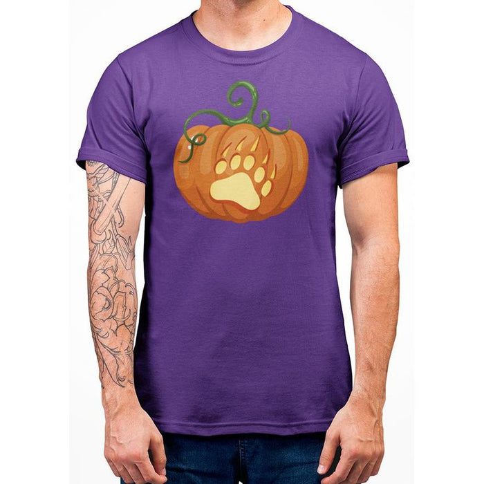 Purple cotton halloween tshirt with image of a bear paw on a pumpkin