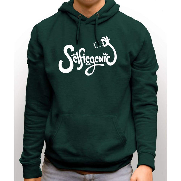 Forest Green sweatshirt with hood and front pocket with white text Selfiegenic