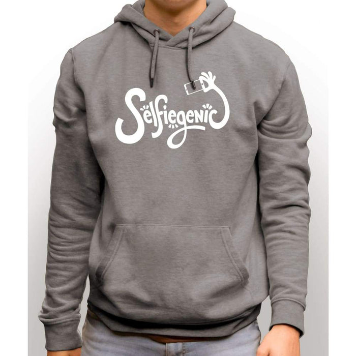 Light Steel sweatshirt with hood and front pocket with white text Selfiegenic