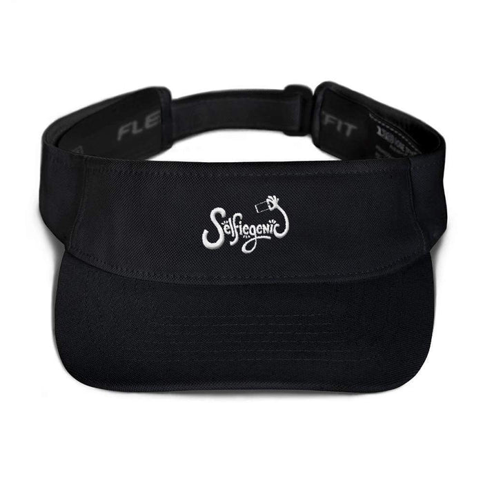 Black visor with matching undervisor Hook & loop closure white embroidered wording selfie