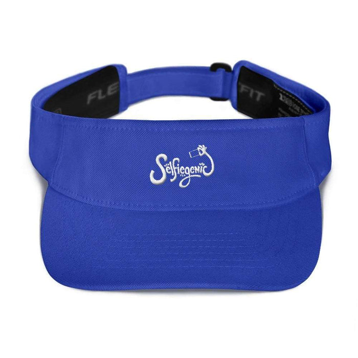 Royal Blue visor with matching undervisor Hook & loop closure white embroidered wording selfie