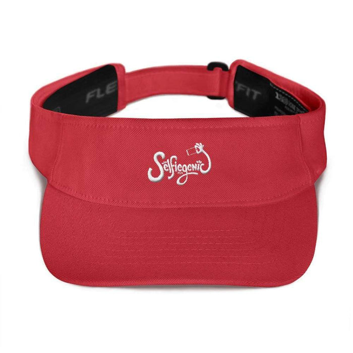 Red visor with matching undervisor Hook & loop closure white embroidered wording selfie