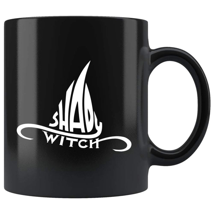 Black high gloss 11oz ceramic coffee mug Dishwasher and Microwave Safe with white witch hat