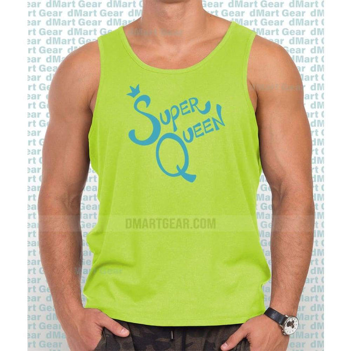 Safety Green 100% cotton tank top with blue text super queen