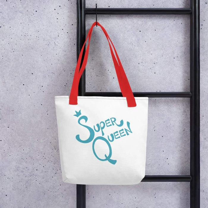 White 15 x 15 weather resistant fabric tote bag with red straps and blue super queen text