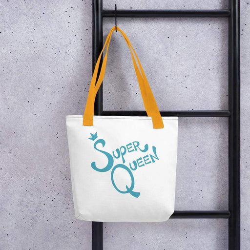 White 15 x 15 weather resistant fabric tote bag with gold straps and blue super queen text