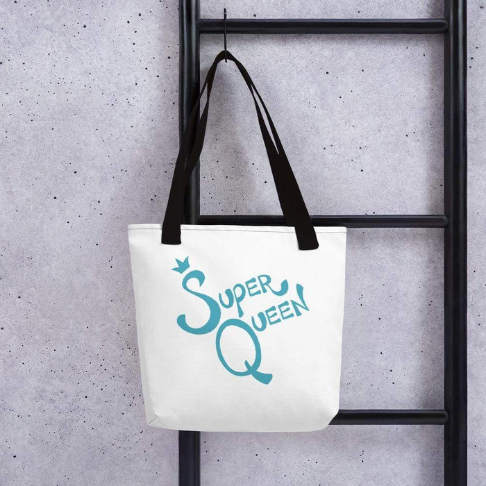 White 15 x 15 weather resistant fabric tote bag with black straps and blue super queen text