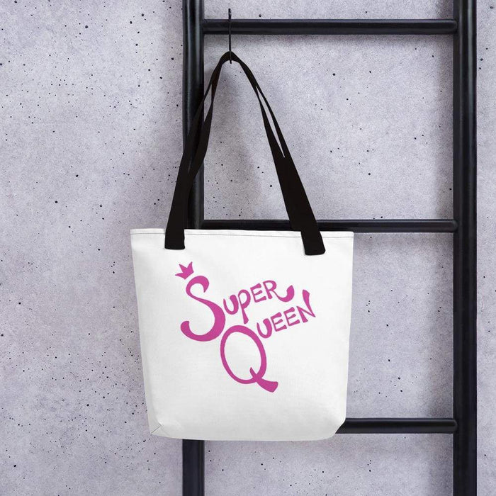 White 15 x 15 weather resistant fabric tote bag with black straps and pink super queen text