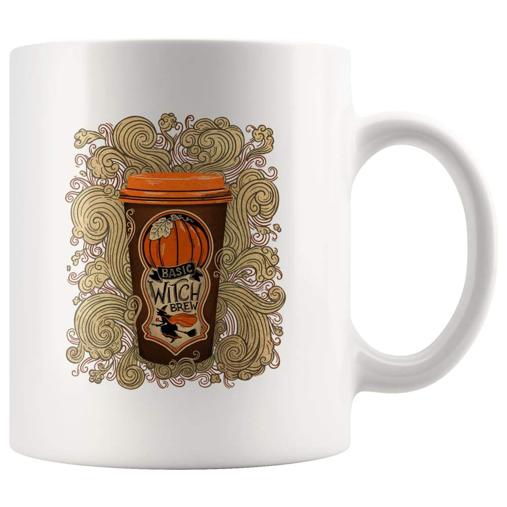 White high gloss 11oz ceramic coffee mug Dishwasher and Microwave Safe with image of a pumpkin latte