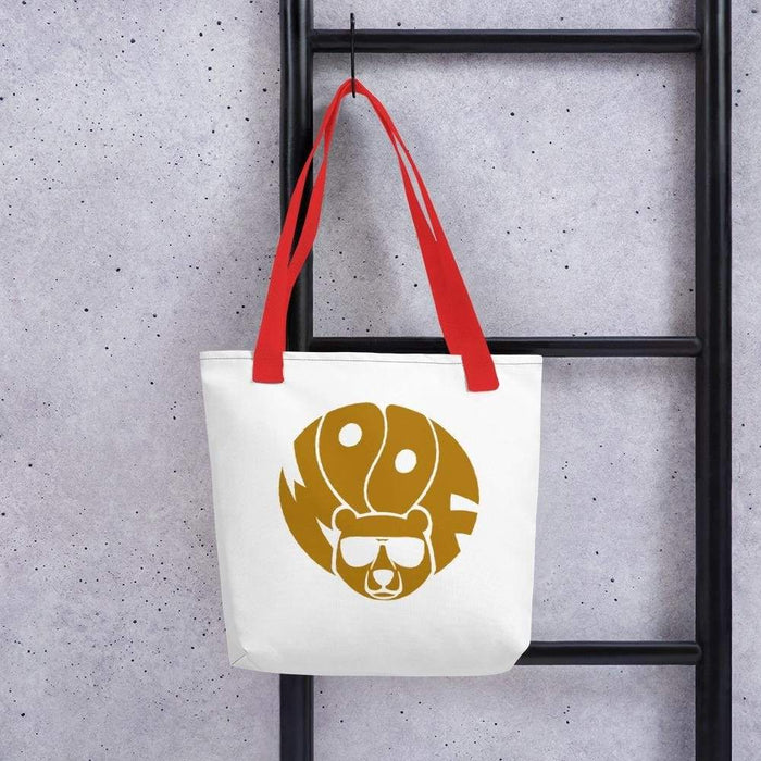 White 15 x 15 weather resistant fabric tote bag with red straps and gold brown bear with woof text