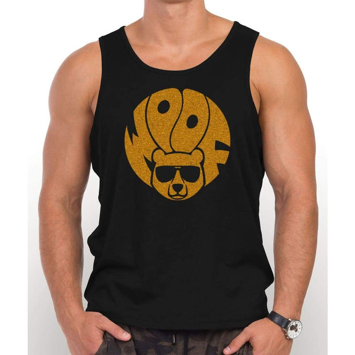 Black 100% cotton tank top with image of gold brown glitter bear