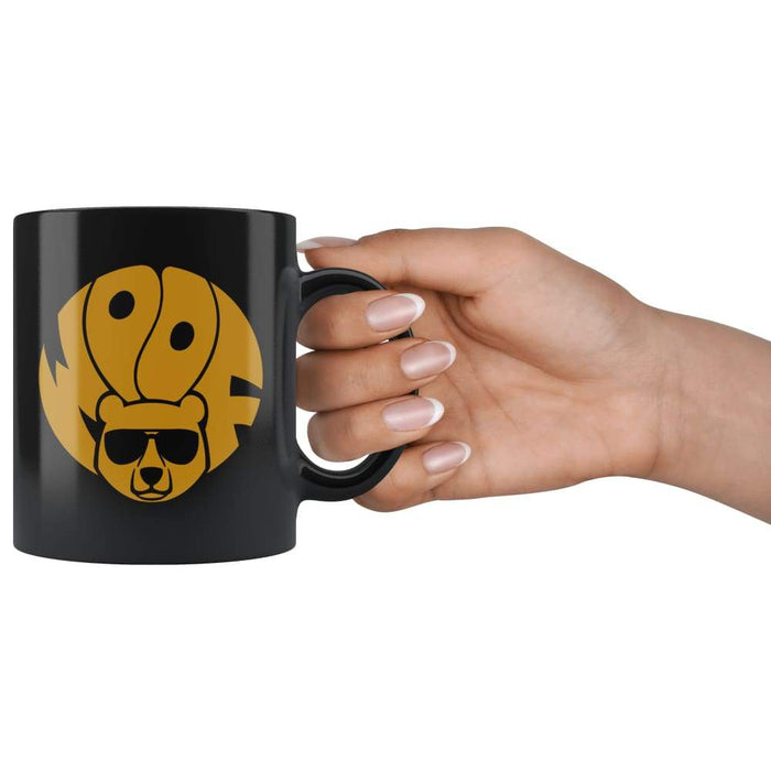 Black high gloss 11oz ceramic coffee mug Dishwasher and Microwave Safe with image gold brown bear
