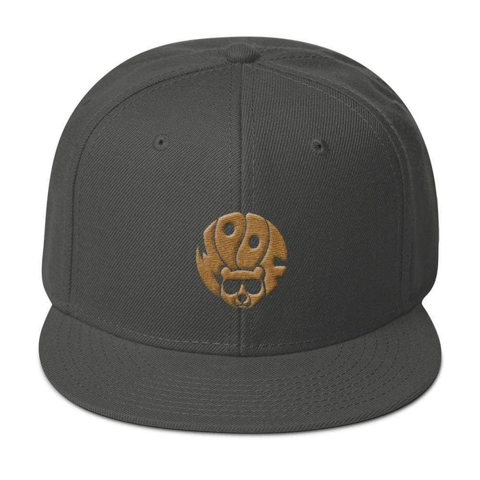 Grey 5-panel, structured, high-profile hat with gold image of bear and text woof